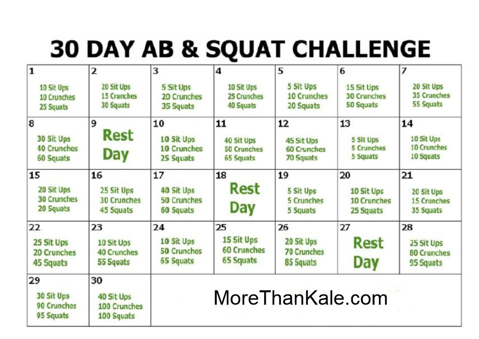 How To Do The 30 Day Ab and Squat Challenge | More Than Kale