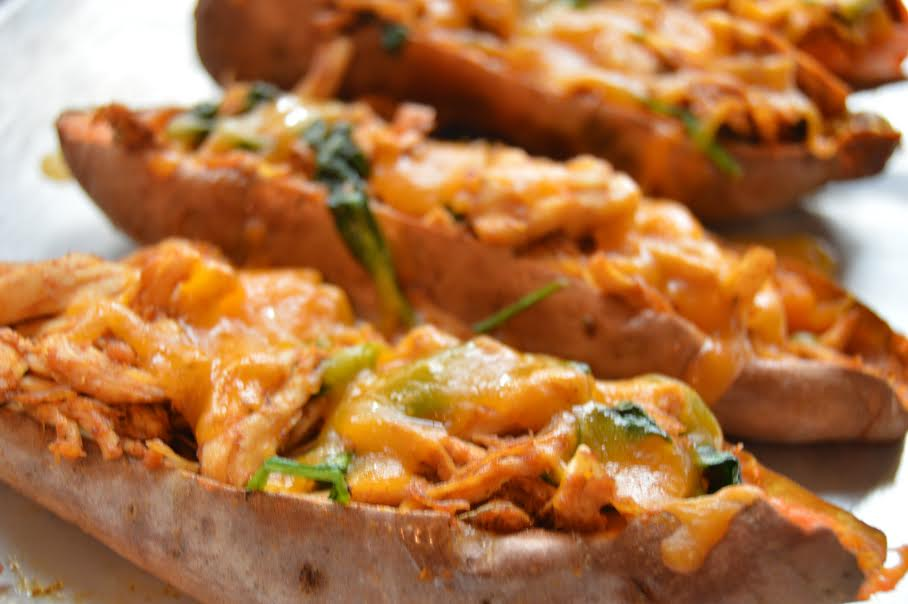 Chili Chicken Sweet Potato Skins - More Than Kale