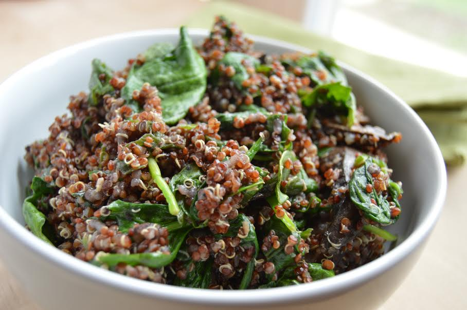 spinach and mushroom quinoa | More Than Kale